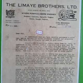 British india - 1930 - THE LIMAYE BROTHERS Bill - King George V Period - in97