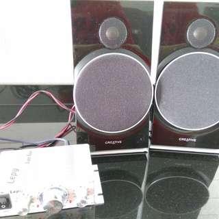 Creative Bookshelf speakers & Mini Amp
