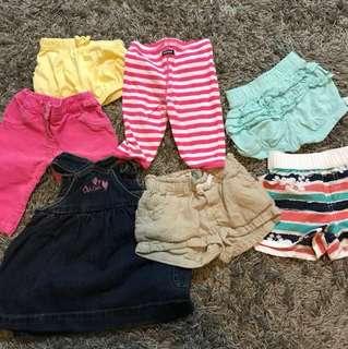Almost new Bonds,Oshkosh,shorts, pants, leggings for girls 3-6months+
