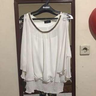 Elegant top white sheer atasan putih baju wanita