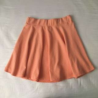 Valleygirl Coral Textured Skater Skirt