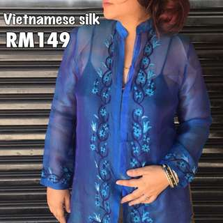 Silk Vietnam Embroidery Top
