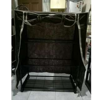 Brown Stackable Shoe Rack With Cover And Side Pockets