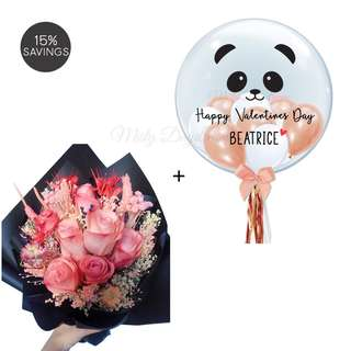 Helium Balloons and Flower Bouquet