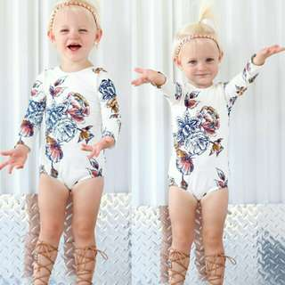 Baby Girl Cotton Long Sleeves Floral Romper 🍀