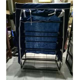 Blue Stackable Shoe Rack With Cover And Side Pockets