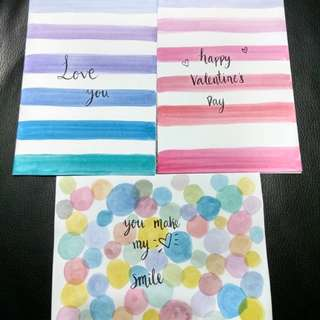 Valentine day watercolour greeting card