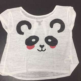 Forever 21 White Panda Crop Top