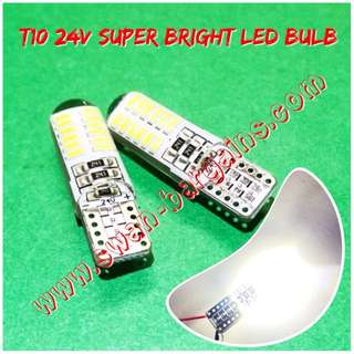 24V Super-Bright T10 W5W 24SMD High Quality Crystal White LED Bulb Vehicle Truck Lorry