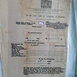 BRITISH BURMA - 1939 RANGOON CIVIL COURT Document Paper - in102