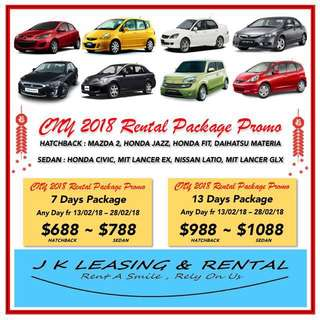 CNY 2018 RENTAL PROMO PACKAGE SEDAN HATCHBACK SUV MPV SEATER RENT RENTAL PROMO CHINESE NEW YEAR HUAT CAR