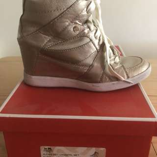 Coach Alexis Gold sneaker wedge heel