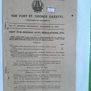 MADRAS GAZETTE 1956 INDIA - in103