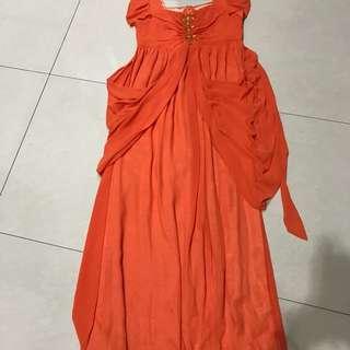 Orange Maternity Evening Dress