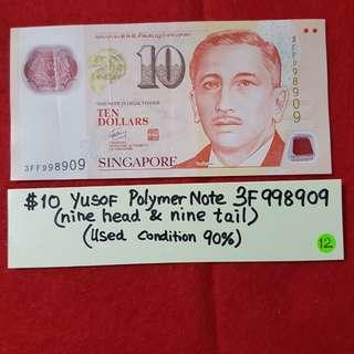 $10 YUSOF Polymer Note   ( nine head and nine tail)