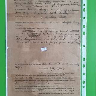 SINGAPORE - 1896 - vintage Agreement Paper - in108