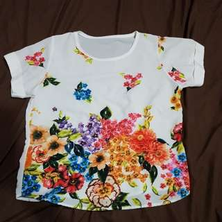 Floral watercolor effect top