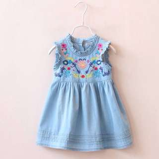 Flower Embroided Girl Jeans Dress