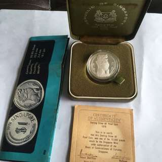 1976 $1 Merlion Sterling Silver Proof Coin