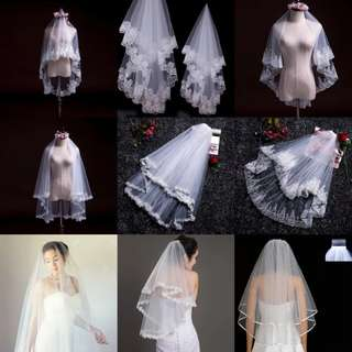 INSTOCK - multiple style short veil (1.5m with and without comb model)