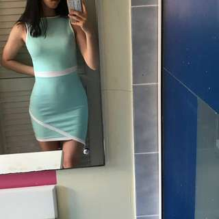 MISSGUIDED blue bodycon dress