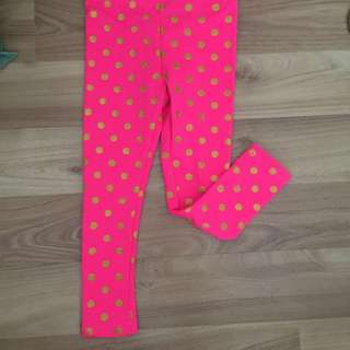 Pink gold polka legging