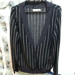 K2品牌 外套上衣 黑金直條紋 拉鏈 Top