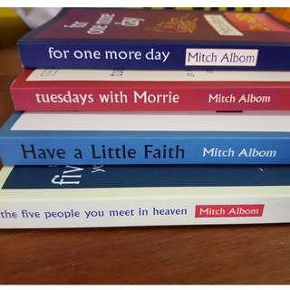 mitch albom books (for one more day, Tuesdays with morrie, have a little faith the five people you meet in heaven)