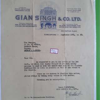 SINGAPORE - 1953 - a Merchant Letter to indian client - in123