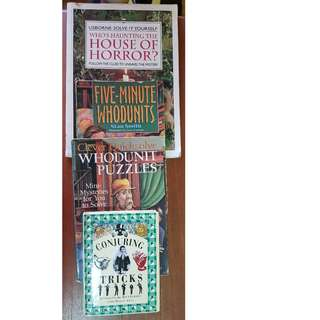 4 books (house of horrors? 5 min whodunits, whodunit puzzles, conjuring tricks)