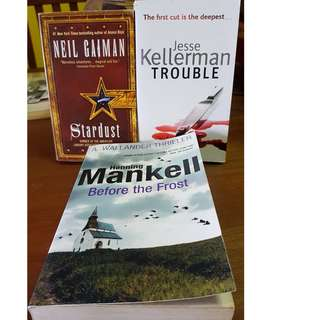 3 books (Jessie Kellerman trouble, Hanning Mankel before the frost, Neil Gaiman stardust)