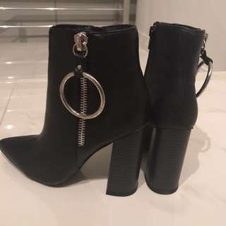 Misguided Black Heeled Boots New