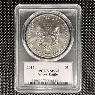 PCGS MS70 2017 美國鷹揚銀幣