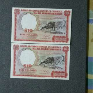2 Buffalo $10 1961 small prefix A/40 590583/4  AUNC condition in running numbers.