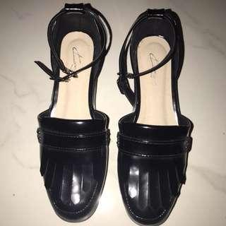 Designer Patent Black Sandals New RRP $50