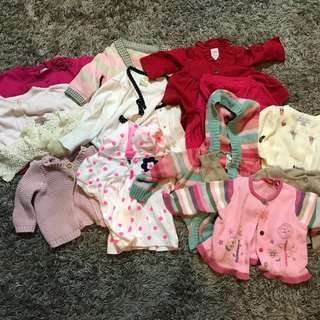 Baby GAP, sprout, pumpkin patch, Carter's cardigan - 0-1 yr old, 13 pieces