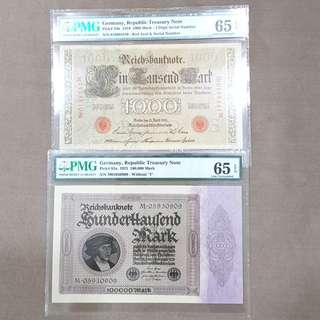 Germany Republic Treasury Note PMG 65 EPQ