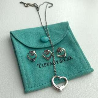 Tiffany open heart earrings and necklace