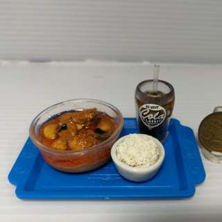 Dollhouse Miniature food display : curry chicken with rice