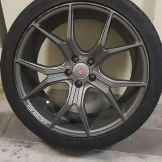 Inforged gunmetal 18 inch rims and tyres 5x100