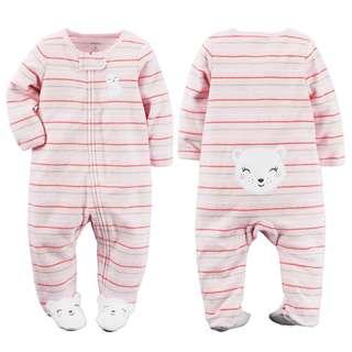 CARTER'S Baby Girl Pink Striped Bear Terry Sleepsuit Carter's Bodysuit Carter's PJs 6M