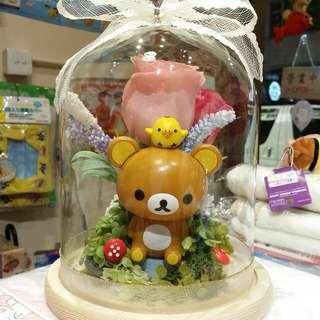 原裝 日本公仔 製作 Rilakkuma 啡熊 鬆弛熊 輕鬆熊 永恆花 保鮮花 永生花 卡通花 情人節禮物 L size