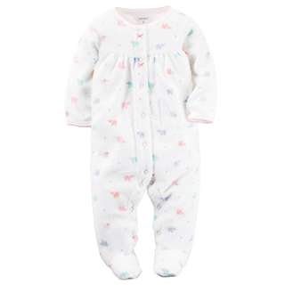 CARTER'S Baby Girl White Elephant Terry Sleepsuit Carter's Pajama Pjs 6M