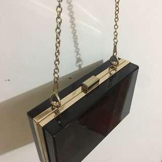 黑色透明硬膠盒手袋