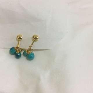 🚚 藍綠色珠珠 耳夾