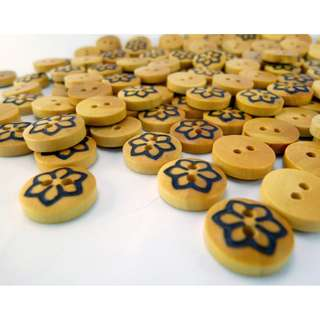 WB10142 - 11mm mini crafted wooden buttons, wood buttons (10 pieces)  #craft