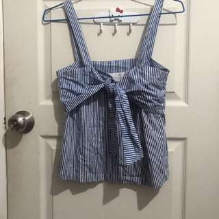 Blue Bow Sleeveless