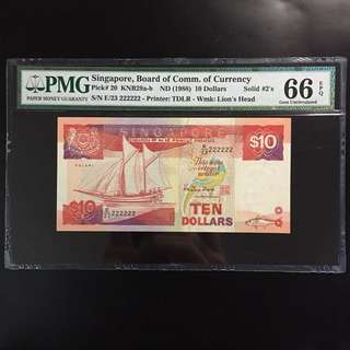Solid 222222 Singapore $10 Ship Note (PMG 66EPQ)