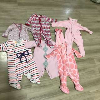 Baby rompers, bonds, pumpkin patch, sprout, all from Australia. Newborn to 6 months. 6 pieces