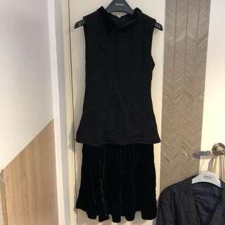 Emporio Armani black velvet one piece dress